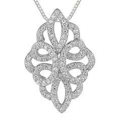 1/2 CT. T.W. Diamond 10K White Gold Pendant Necklace