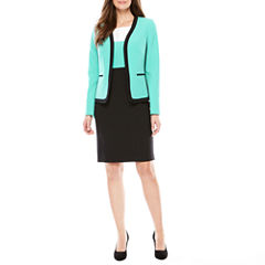 Black Label by Evan-Picone Long Sleeve Contrast Trim Jacket with Sleeveless Colorblock Sheath