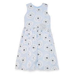 Marmellata Blue Floral Lace Dress w/Floral Applique - Girls' 7-16