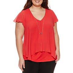 by&by Short Sleeve V Neck Crepe Blouse-Juniors Plus