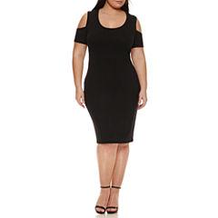 Boutique + Cold Shoulder Bodycon Dress-Plus