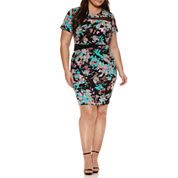Boutique + Short Sleeve Bodycon Dress-Plus