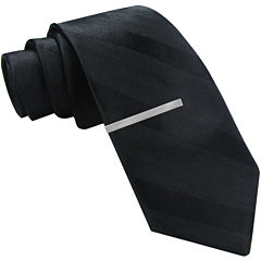 JF J. Ferrar® Tonal-Striped Tie and Tie Bar Set - Skinny