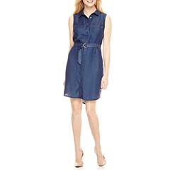 Ronni Nicole Sleeveless Shirt Dress-Petites
