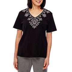 Alfred Dunner Garden Party Short Sleeve V Neck T-Shirt