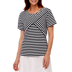 Alfred Dunner Lady Liberty Short Sleeve Stripe T-Shirt