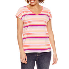 St. John's Bay Short Sleeve V Neck T-Shirt-Petites