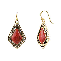 Art Smith by BARSE Genuine Red Sponge Coral Drop Earrings