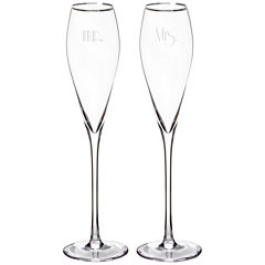 Cathy's Concepts Mr. & Mrs. Gatsby Set of 2 Rim Champagne Flutes
