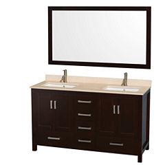Wyndham Collection Sheffield 60 inch Double Bathroom Vanity
