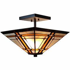 Amora Lighting AM085CL14 Tiffany-Style Mission 2-Light Semi-Flush Ceiling Fixture 14-Inch