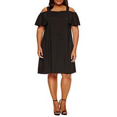 Boutique + Cold Shoulder A-Line Dress-Plus