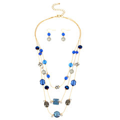 Mixit™ Gold-Tone Blue Beads and Simulated Pearls Earring and Necklace Set