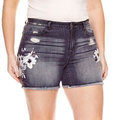 Rewash Floral Paint Fray Hem Shorts - Juniors Plus