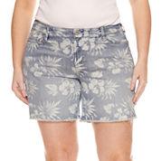 Arizona Floral Denim Midi Shorts - Juniors Plus