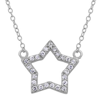Diamonart Womens 12 Ct Tw Lab Created White Cubic Zirconia Sterling Silver Star Pendant Necklace