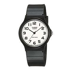 Casio® Mens White Dial Black Resin Strap Watch MQ24-7B2LLUB
