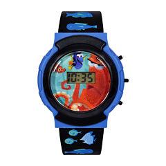 Disney@Finding Dory Graphic Black Plastic Strap Flashing LCD Kids Watch