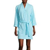 Jasmine Rose 3/4-Sleeve Houndstooth Knit Robe