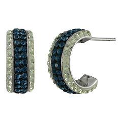 Blue & White Crystal Huggie Hoop Earrings