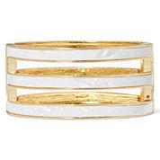 Monet® White and Gold-Tone Bangle Bracelet