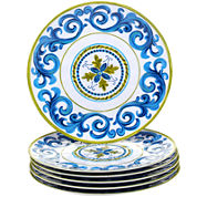 Certified International Blue Grotto Set of 6 Melamine Dinner Plates
