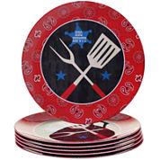 Certified International BBQ Bandit Set of 6 Melamine Dinner Plate