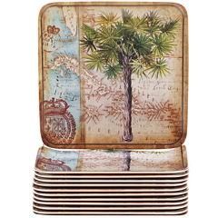 Certified International Antique Palms Set of 12 Melamine Canapé Plates