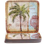 Certified International Antique Palms Set of 6 Melamine Dinner Plates