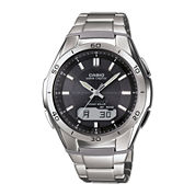Casio® Mens Black Dial Stainless Steel Atomic Time Solar Watch WVAM640D-1A