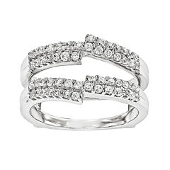 5/8 CT. T.W.  Round Diamond 14K White Gold Ring Guard