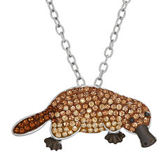 Animal Planet™ Australia Platypus Crystal Sterling Silver Pendant Necklace