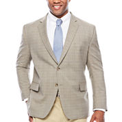 Stafford Yearround Stretch Brown Blue Check Sport Coat-Big and Tall