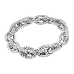 Worthington® Silver-Tone Stretch Link Crystal Bracelet