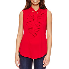 Bisou Bisou Tie Neck Ruffle Top