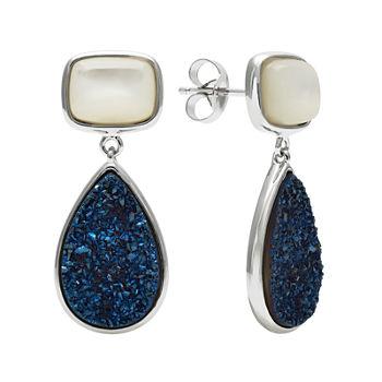 Mother of pearl Amp Genuine Drusy Sterling Silver Drop Earrings
