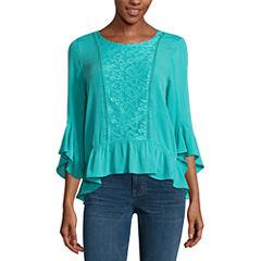 One World Apparel 3/4 Sleeve Scoop Neck T-Shirt-Womens