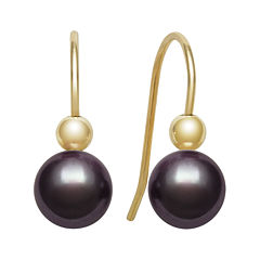 14K Yellow Gold Black Freshwater Pearl Earrings