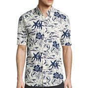 St. John's Bay® Short-Sleeve Tropical Crosshatch Woven Shirt