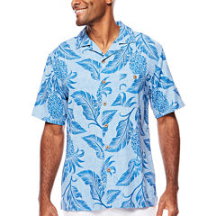 Island Shores™ Short-Sleeve Printed Silk Camp Shirt