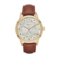 Relic Womens Brown Strap Watch-Zr12205