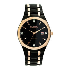 Elgin Mens Two Tone Bracelet Watch-Fg168021bkrg