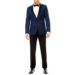JF J. Ferrar Blue Houndstooth Tuxedo-Slim