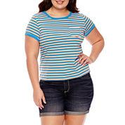 Arizona Short Sleeve Ringer T-Shirt- Juniors Plus