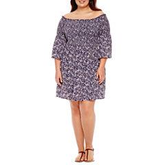 Arizona 3/4 Sleeve Fit & Flare Dress-Juniors Plus