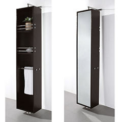 Wyndham Collection April Linen Tower & 360 DegreeRotating Floor Cabinet with Full-Length Mirror