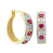 Classic Treasures™ Lab-Created Ruby and Diamond-Accent Hoop Earrings