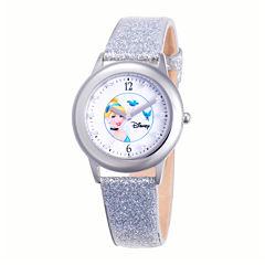 Disney Cinderella Glitz Tween Silver Leather Strap Watch