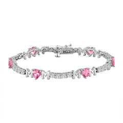 Lab-Created Sterling Silver Pink Sapphire and Cubic Zirconia Mom Bracelet