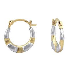 Girls 14K Two-Tone Gold Hoop Earrings